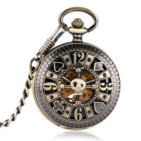 Skeleton Bronze Skull Pocket Watch
