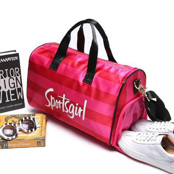 """"""" Sportsgirl """" Printed Pink High Quality Durable Victoria's Secret Like Sport Exercise Carry on Yoga Gym Travel Luggage Bag  _ 13495"""