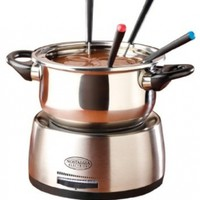 Nostalgia FPS200 Family Size Stainless Steel Electric Fondue Pot with Fondue Forks