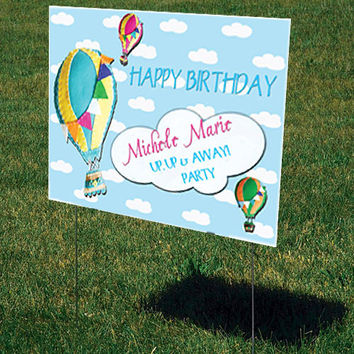 "Birthday Lawn Sign-Party Lawn Sign-Personalized-Custom Lawn Signs-(27"" x 18"")-Up Up & Away"