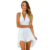 GJ108 New Woman 80`s Retro Hatler Notched Collar V Neck Overlay Tuxedo Romper Casual Chiffon Playsuit Jumpsuit