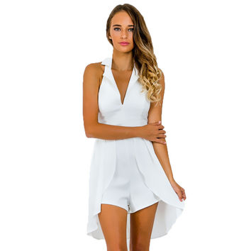 80`s Retro Halter Notched Collar V-Neck Overlay Tuxedo Romper Chiffon Playsuit Jumpsuit