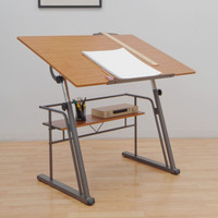 Studio Designs Zenith Drafting Table - Black or Pewter and Teak