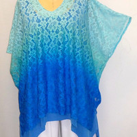 Coco and Juan Lagenlook Womens Plus Size Top Ombre Lace Poncho Tunic Top One Size Fits Sizes 1X, 2X, 3X