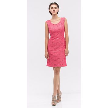 Coral Above Knee Lace Fitted Cocktail Dress Tank Strap
