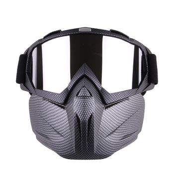 Ski Goggles Winter Snow Sports Motorcycle Helmet Riding Detachable Modular Face Mask Men Women Windproof Breathable Goggles