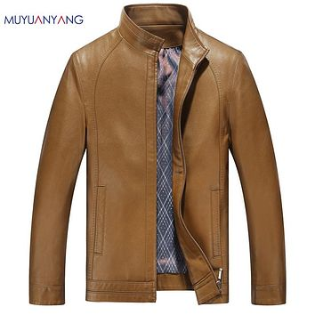 Men Leather Jackets Casual Faux Leather Coats Motorcycle Jacket Male Stand Collar Clothing