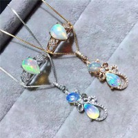 Multicolored jewelry natural Opal Silver Ring Set 925 exquisite Necklace Set