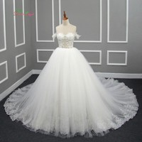 Dream Angel Vestido De Noiva Embroidery A Line Wedding Dress 2017 Sexy Backless Appliques Beaded Royal Train Vintage Bridal Gown
