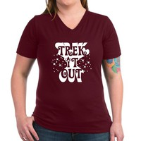 TREK IT OUT Women's V-Neck Dark T-Shirt