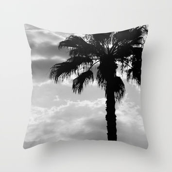 Palm Trees In Black And White Throw Pillow by ARTbyJWP