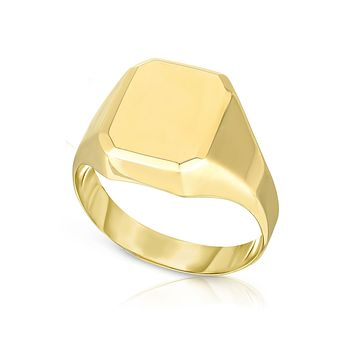 14k Yellow Gold Rectangle Disc Signet Womens Ring, 7