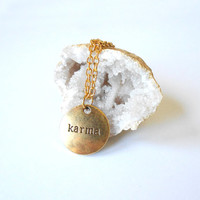 Minimalist Karma Charm Necklace - Dainty Short Boho Gold Necklace