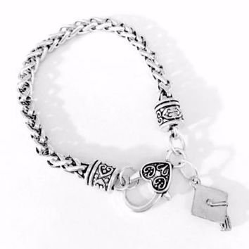Graduation Cap Class Of 2017 Daughter Graduate Gift For Her Charm Bracelet
