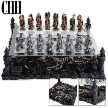 """CHH Dragon Theme Chess Board Classic Strategy Game Set King 2-3/4"""" Tall NEW"""