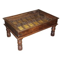 Antique Door Coffee Chai Arabic Indian Hand Carved Calligraphy Table