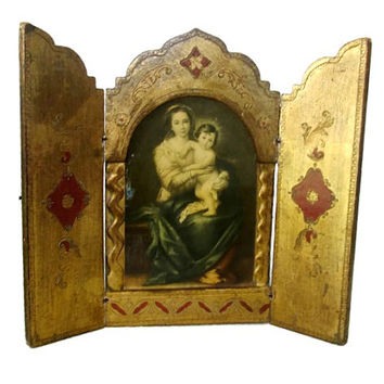 Vintage Florentine Altar Triptych Madonna and Child Shrine Icon