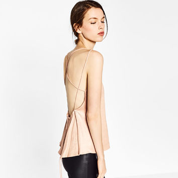 LACE TOP WITH LOW-CUT BACK DETAILS