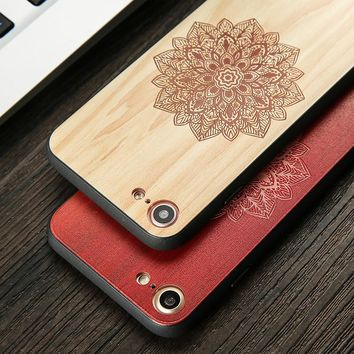DIY Wood Pattern Phone Cases For iphone 7 6 6s Plus Case Retro 3D Embossed Flower Paisley Mandala Henna Wooden Pattern Cover New