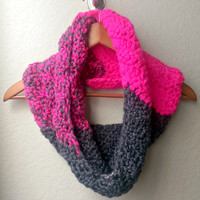 Summer Chunky Sale! Clearance, Color Block Chunky Scarf, Grey and Pink Chunky Infinity Scarf, Soft Chevron Infinity Scarf, Super Chunky Cowl