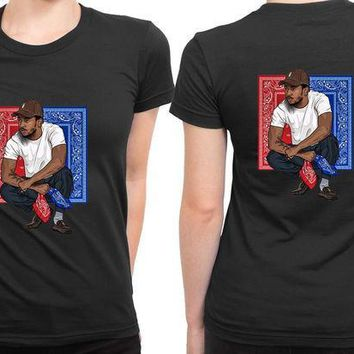 ESBP7V Kendrick Lamar Red And Blue Poster 2 Sided Womens T Shirt
