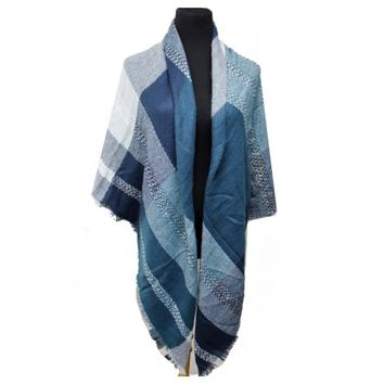 """Always My Style"" Multi Color Blue Blanket Scarf"