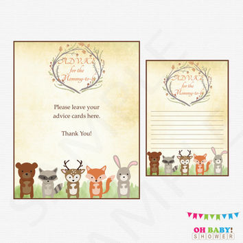 Woodland Baby Shower, Advice for the new Mommy, Woodland Animals, Printable Instant Download, Advice for Mom, Advice for Mommy to Be, WD01