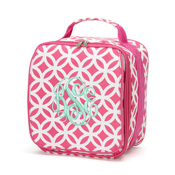Monogrammed Lunchbox Lunchbag Pink Sadie Geometric Insulated Cooler School Personalized Lunch Box Bag