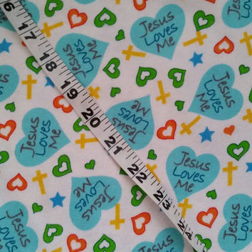 Jesus Loves Me flannel fabric for quilting cross hearts crosses cotton quilt print quilters material sewing project BTY crafting by the yard