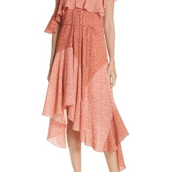 Joie Hacinthia Asymmetrical Mix Sleeve Silk Dress | Nordstrom
