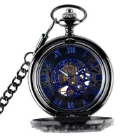 Mechanical Hand Wind Pocket Watch Skeleton Fullmetal Pocket Watches Men's Watch Analog Pendant Necklace For Women Men Xmas Gifts
