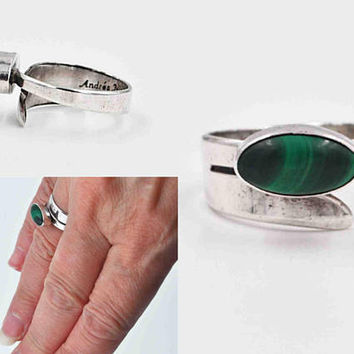 Vintage Native American Sterling Silver & Malachite Modernist Ring, Signed Andres Nieto, Green, Bypass, Size 6 1/2, So Unique! #c199