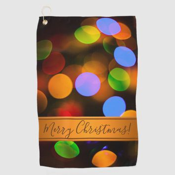 Multicolored Christmas lights. Add text or name. Golf Towel