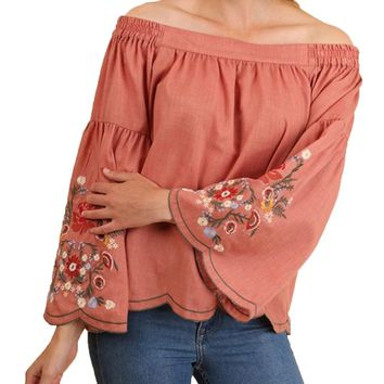 Umgee Canyon Clay Floral Embroidered Bell Sleeves Off Shoulder Top
