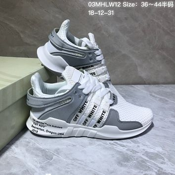 HCXX A545 Adidas Off White EQT Cushion ADV Mesh Fashion Running Shoes White Gray