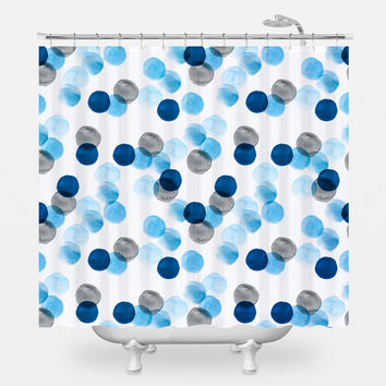 Blue Watercolor Dots Shower Curtain