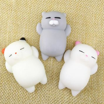 3pcs/Lot Kawaii Cute Mochi Cat Kitten Soft Simulation Cartoon Animal Slow Rising Squishy Squeeze Healing Toys Funny Kids Gift