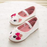 New Spring Cute Cat Children's Footwear Princess Infant Girl Shoes With Bowknot PU Children Shoes Girls Toddler Flat Shoes