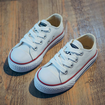 Classic Children Canvas Shoes Girls Boys Sneakers Soft Sole Trainer Casual Flat Lace-Up Kids Baby Plimsolls (Toddler/Big Kid)