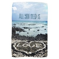 "Hawaii black sand beach & coral ""love"" heart photo hand towel"