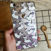 Super Cute Unicorn Cat Case Liquid Glitter