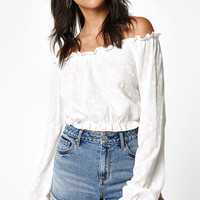 Lisakai Woven Eyelet Off-The-Shoulder Blouse at PacSun.com