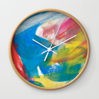 Abstract Artwork Colourful #4 Wall Clock by Kathrinmay