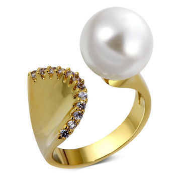White Pearl Zircon Gold Plated Mermaid Style Ring