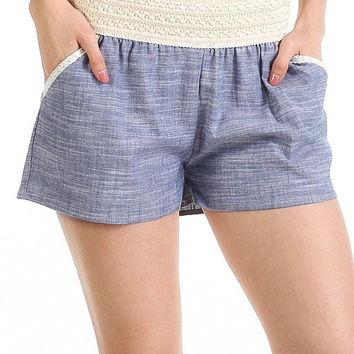 Crochet & Chambray Shorts