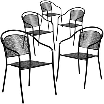 5 Pk. Indoor-Outdoor Steel Patio Arm Chair with Round Back