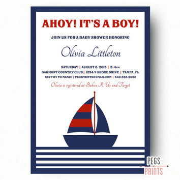 Printable Nautical Baby Shower Invitation Boy - Nautical Baby Shower Invites - Ahoy Its A Boy Invitation - Custom Baby Shower Invitations