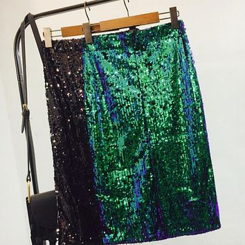 Fashion high waist sequins skirt women penicl skirt loose waist