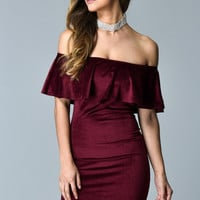 Moment Like This - Wine Suede Dress