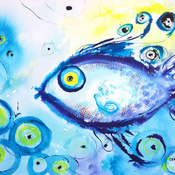 Abstract Fish, Original Watercolor, 12x16, Abstract Ocean, Whimsical, Beach theme, Children's room, Blue and Yellow, Turkish, Evil Eye
